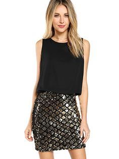 4994b173547 Romwe Women s Sexy Layered Look Fashion Club Wear Party Sparkle Sequin Tank  Dress at Amazon Women s