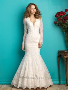 Long Sleeves Plunging V-neck Lace Wedding Dress with Sheer Illusion Back