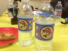 7th Birthday, Party Themes, Mario, Water Bottle, Drinks, Drinking, Beverages, Drink, Beverage