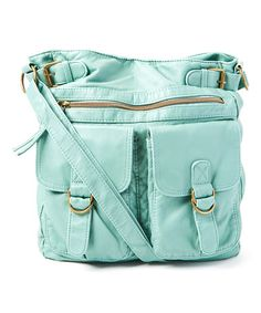 Look what I found on #zulily! Aqua Washed Double Pocket Crossbody Bag by T-Shirt & Jeans #zulilyfinds