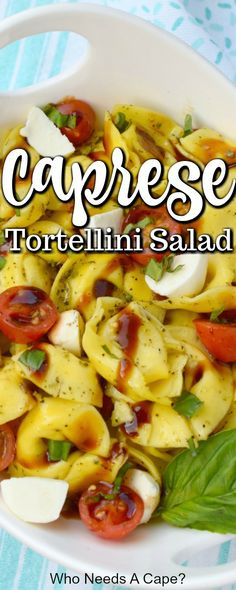 All of my favorite summer flavors in one delicious side dish! Tortellini Caprese Salad is super easy to prepare for a light lunch or alongside dinner! A great addition to potlucks and holiday meals. Side Salad Recipes, Summer Salad Recipes, Fruit Salad Recipes, Salad Dressing Recipes, Raw Food Recipes, Pasta Recipes, Healthy Recipes, Fall Recipes, Best Pasta Dishes