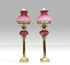Stunning Matching Pair Of Original Antique Ruby Glass Oil Peg Lamps Lampart Antiquelamps