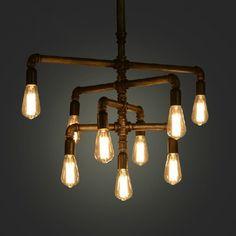 Retro American Industrial pipe pendant chandelier @aliexpress
