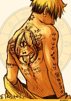 Human Bill Cipher with classic cipher tattoos