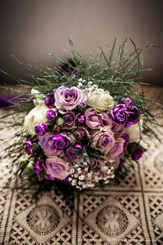 Bouquet of purple, pink and white roses. www.lindavos.co.za Bridal Bouquets, White Roses, Aurora, Purple, Pink, Floral Wreath, Wreaths, Flowers, Photography