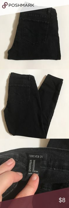 Forever 21 Jeans Gently worn, good condition. Medium wash and wear. Still have great life. More like the vintage black then jet black. Forever 21 Jeans Skinny