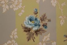 Blue Flowers on Yellow Stripe Vintage Wallpaper