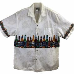 KY's Mens 2X #Hawiian #Beer Shirt Habiscus Cotton Short Sleeve Button Front Pocket #KYs