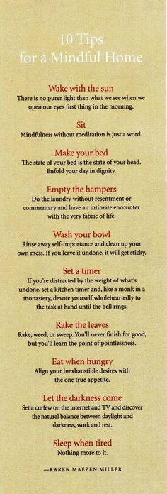 infographic, list, mindfulness, home