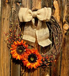 Autumn Orange Sunflower Wreath - Fall Wreath - Grapevine Wreath - Door Wreath - Fall Decor - Autumn Decor- love but needs a yellow flower middle