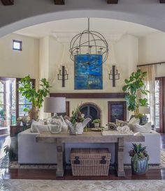 Rancho Santa Fe Hacienda | Adorno (<3 sectional in front of fireplace, sofa table, lighting fixtures)