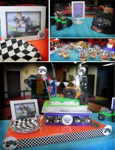 Bunting flags behind cake - monster truck