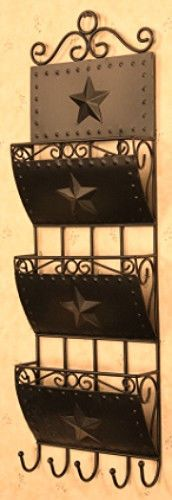 New Primitive Country Black Star Metal Mail Letter Holder Bin Wall Rack