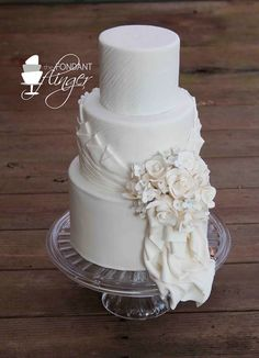 Here is today's top featured wedding cake inspiration from Fondant Flinger in the Greater New Orleans area and One Sweet Slice in Utah. Fondant Wedding Cakes, White Wedding Cakes, Cool Wedding Cakes, Beautiful Wedding Cakes, Wedding Cake Designs, Fondant Cakes, Beautiful Cakes, Amazing Cakes, Cupcake Cakes