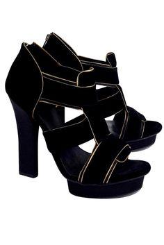 16eec63d91fe Tory Burch- Black Carsonie Velvet Gold-Trim Heels Sz 9