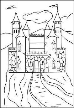 Ausmalbild Ritter und Drachen Ritterburg kostenlos