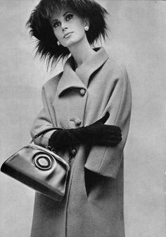 Bettina Lauer in green wool coat by Philippe Venet, handbag by Prost, photo by Pottier, 1964