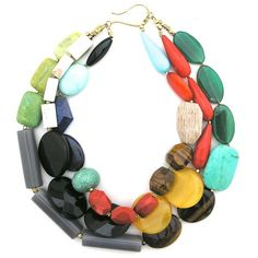"""Please note: This item is considered Final Sale--not available for returns, exchanges, or credits. A colorful mix of glass, agate, resin, turquoise, tiger's eye, lapis, jasper, and obsidian beads in three vibrant strands. Fastened with a gilt copper hook, the design measures 18"""" in length."""