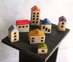 Fairy houses ... handmade clay houses set of 7 ... by SkyeArt, $72.00