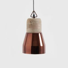 Deep Copper And Natural Wood Pendant Light - pendant lights