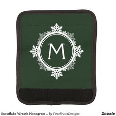 Snowflake Wreath Monogram in Dark Green & White Luggage Handle Wrap