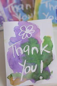 Crayon Resist Art: homemade Thank You cards (happy hooligans)