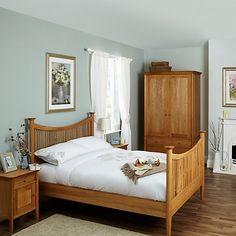 Nancy high footend oak sleigh bed double king super for Bedroom furniture without bed