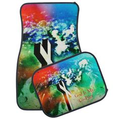 Holy Cross Colorful Distressed /God is my Co-Pilot Car Mats