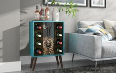 Show off eight bottles of wine and your cork collection in the Manhattan Comfort Lund Wine Cabinet and Display . This engineered wood wine cabinet. Wine Bottle Storage, Wine Bottles, Wine Racks, Wine Decanter, Round Shelf, Wine Collection, Lounge Decor, Wine Cabinets, Wood Countertops