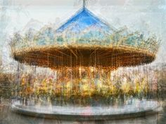 Photographer Pep Ventosa made these abstract composite images of carousels in various amusement parks around the world by photographing them from multiple angles and then blending the photographs together.