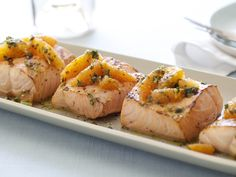 Grilled Salmon with Citrus Salsa Verde from FoodNetwork.com