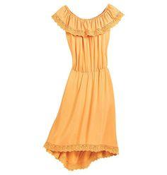 {Crochet Trim Peasant Dress} 100% rayon challis. Stretch neckline for on- or off-the-shoulder options. Crochet-trimmed hem. Arm-flattering shoulder flounce. Hand wash and dry flat. $34.99 http://lareinaliona.avonrepresentative.com