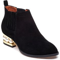 JEFFREY CAMPBELL Metcalf-Mp Black Suede Bootie (325 BAM) ❤ liked on Polyvore featuring shoes, boots, ankle booties, ankle boots, black suede, jeffrey campbell bootie, short black boots, short boots, jeffrey campbell booties and black suede boots