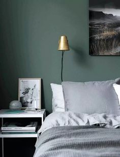 Here we showcase a a collection of perfectly minimal interior design examples for you to use as inspiration. Green Bedroom Walls, Green Master Bedroom, Bedroom Wall Colors, Green Rooms, Room Ideas Bedroom, Home Bedroom, Bedroom Decor, Painting Bedroom Walls, Bedrooms