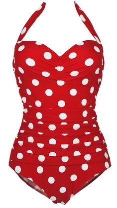 1950s Retro Red Vintage One Piece Monokini White Polka Swimsuits Swimwear XL(FBA)