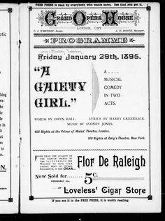 Grand Opera House, London, Ont., programme  Friday, January 29th, 1895