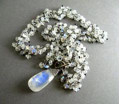 Moonstone Sterling Cluster Gemstone Necklace by SurfAndSand, $475.00