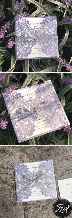 $270 for 100 sets of invitations - romantic lavender laser cut wedding invitations with grey ribbon bows EWWS124#weddinginvitations#ElegantWeddingInvites