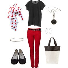Red, Black and Polka Dots - not big on polka dots, but outfit is very cute -love the red jeans! different shoes & scarf!!