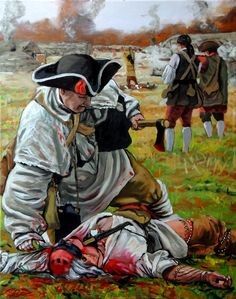 """Massacre at Seekunk or Salt-Lick Town"", 16"" x 20"", oil on canvas.  The October 1774 massacre of Native Americans at a Mingo settlement by an American force lead by Colonel William Crawford. All rights held by the artist, Herb Roe 2013."