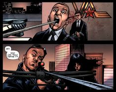 One of my favorite books, The Boys, this image from #62 by the often imitated never duplicated Garth Ennis.