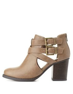 Belted Cut-Out Chunky Heel Booties: Charlotte Russe