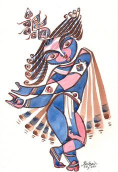 Krishna for today. Experiments with Krishna series. Watercolour.