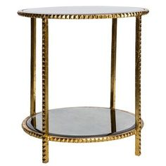 Antique Mirror Gold Rim Round End Table