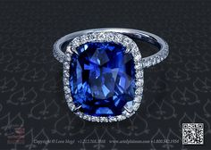 Blue sapphire halo ring by Leon Mege