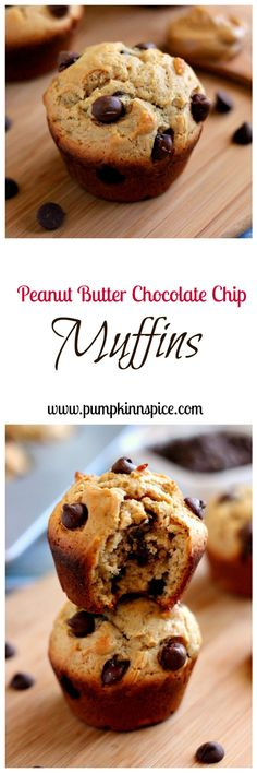 Jam-packed with creamy peanut butter and bursting with chocolate, these Peanut Butter Chocolate Chip muffins are the perfect breakfast or mid-morning snack!