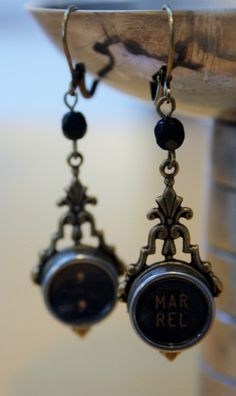 STEAMPUNK Earrings - Upcycled Typewriter Key Earrings  by Compass Rose