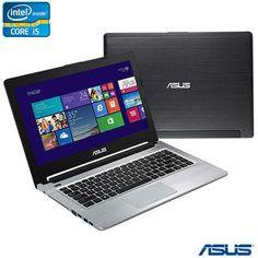 """Ultrabook Asus 3ª Geração do Processador Intel® Core™ i5 3317u, 8 GB, HD 750GB +24 SSD, Tela LED 14"""" e Windows 8 Preto - S46CA-WX057H"""