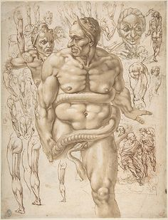 Giovanni Ambrogio Figino (Italian, 1548–1608). Nude Demon Encircled by a Serpent, after Michelangelo's Last Judgment; and Other Figure Studies, 1548-1608. The Metropolitan Museum of Art, New York. Gift of Mrs. David F. Seiferheld, 1961 (61.179.2).