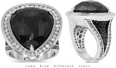 14K White Gold Mens Diamond Pinky Ring With Black Diamonds 18.78 Ctw: This exquisite mens diamond pinky ring is handcrafted to absolute perfection. Stand out with this one of a kind mens 14K white gold ring which is exclusively designed by Avianne.